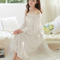 New Female Long Nightgown Women Sleepwear Home Clothes White Palace-style Dress Ruffles Ankle-Length Vintage Sexy Vestidos