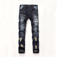 Men's Fashion Denim Ripped Holes Mosaic Print Slim Jeans [6541738627]
