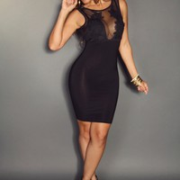 Black Mesh Sleeveless With Front Flower Detailing Sexy Dress (PLUS SIZE AVAILABLE)