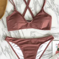 Cupshe Healing Whisper Cross Bikini Set