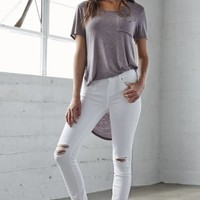 Bullhead Denim Co. Worn White Ripped Low Rise Skinny Jeans - Womens Jeans - White