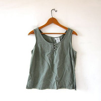 Vintage linen tank top. minimalist modern tank. faded army green cropped tank top.