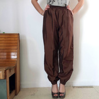 Vintage 1980s High Waisted Brown Bronze Harem Pants - Parachute Pants - SZ XS / S