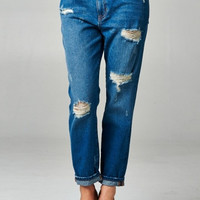 High-Rise Distressed Boyfriend Jeans - Medium Wash