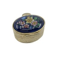 Vintage Porcelain Pill Box with Flowers, Pill Holder, Ring Box, Stash or Snuff Box, Ring Bearer, Engagement Ring Presentation Box