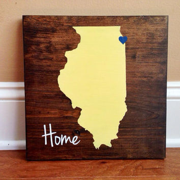 Pick Colors, Illinois Wood Sign, Illinois State Sign, Stained and Hand Painted, Personalize, Illinois decor