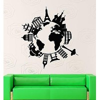 Wall Stickers Vinyl Decal Map Of The Famous Places Travel Coolest Decor  Unique Gift z1577