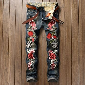 Ripped Holes Embroidery Pants Jeans [10766086915]