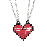 Blackheart Player 1 & 2 Heart Best Friend Necklace Set