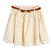 White Lace Mini Skirt with The Belt