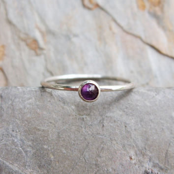 Tiny Rose Cut Amethyst Stacking Ring in Sterling Silver