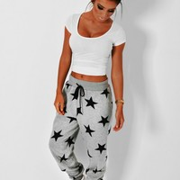 Cosy Dream Grey Star Print Elasticated Sweat Pants | Pink Boutique