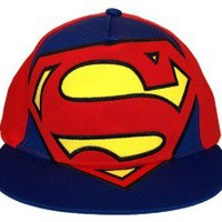 Superman Big Logo DC Comics Superhero Youth Fitted Flat Bill Hat Cap 2Bhip