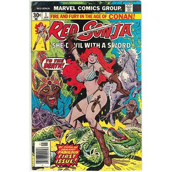 Red Sonja #1 Marvel Comics 1977 Conan Spin-Off, Thome Art, Thomas