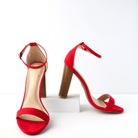 Taylor Red Suede Stacked Ankle Strap Heels
