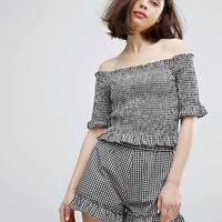 Monki Ruffle Gingham Bardot Top & Shorts Co-Ord at asos.com