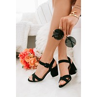 Unforgettable Love Faux Suede Heels (Black)