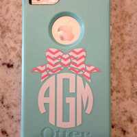 Chevron Bow Cell Phone Monogram Decal