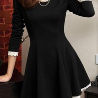 Black Lace Panel Long Sleeve Skater Dress