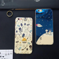 The rabbit and bear's space world phone case for iphone 5 5s SE 6 6s 6 plus 6s plus + Nice gift box 080902