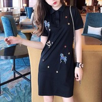 """Burberry"" Women Casual Fashion War Horse Embroidery Short Sleeve Polo Shirt Dress"