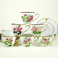 Vintage Tea Cups, Vintage Coffee Cup, Tea Cups and Saucers Sets, China Tea cup and Saucer, Pierre Redoute, Roses, Vintage Tea Party, Germany