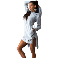NEW 6 Colors Fashion Women Summer Short Dress Hooded Cotton Sport Dresses Long Sleeve Pockets Casual Loose Thin Dress Vestidos