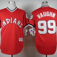 Cleveland Indians #99 Ricky Vaughn Red 1974 Turn Back The Clock Stitched Jerseys MLB Baseball Jersey