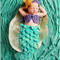 Baby Mermaid Set Starfish Headband Shells Tail Drape - Hat Crochet Outfit Newborn Boy Girl Halloween Thanksgiving Photo Prop