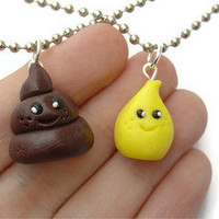 Best Friend Necklaces. Pee and Poo. Pee and Poop. Silly Jewelry. Unique Jewelry.