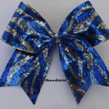 """3"""" Royal Blue and Silver Zebra Sequin Cheer Bow"""