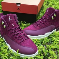 Air Jordan Retro 12 Bordeaux for Man Basketball Shoes Wine red Trainer Sneakers size US 8-13