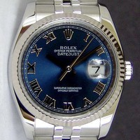 Rolex Datejust Gold & Steel Blue Roman Dial 116234 Rehaut Jubilee - WATCH CHEST