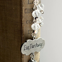 """Silver and Clear """"Far, Far Away"""" Beaded Fairy Tale Bookmark - Handmade Dangling Bookmark - Ready to Ship"""