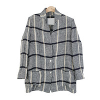 Two-Buttoned Checkered Linen Jacket