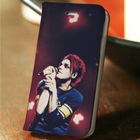 Gerard Way My Chemical Romance custom wallet case for iphone 4,4s,5,5s,5c,6 and samsung galaxy s3,s4,s5