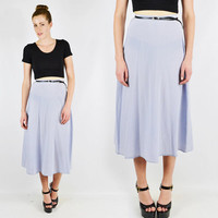 vtg 80s 90s boho pastel PERIWINKLE blue 100% SILK draped high waist waisted MIDI dress skirt S M