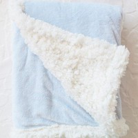 reversible chamois blanket in blue at ShopRuche.com