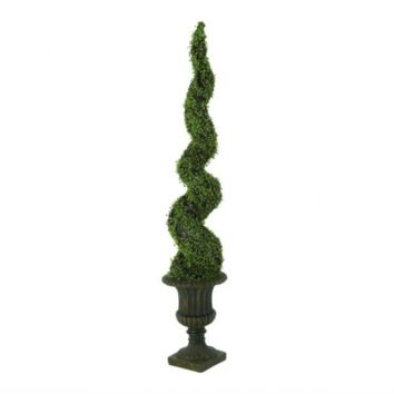 "70"" Spiral Potted Boxwood Topiary"