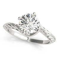 Engagement Ring -Swirl Solitaire Engraved Engagement Ring-ES1705