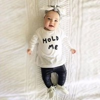 HOLD ME Long Sleeve T-shirt + PU Leather Pants Outfits Baby Sets