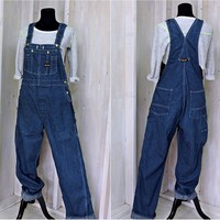 Vintage 80s Big Smith Overalls / 34 x 31 size M /  bib overalls / dark wash denim  / utility carpenter style / Mens or Womens