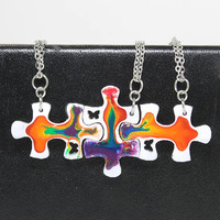 Friendship Puzzle Pendants 3 piece set Rainbow Linking pendants