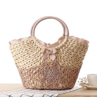 Handcrafts Lace Bowknot Woven Beach Bag [6580741575]
