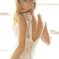 Ivory/White V Neck Sheath Lace Bridal Gown Wedding Dress Figure Color Free Size