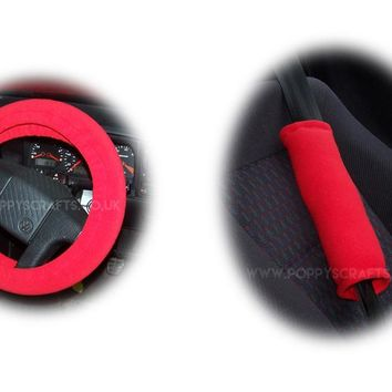 Racing Red fleece Car Steering wheel cover & matching fleece seatbelt pad set