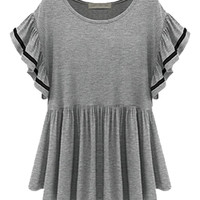 Gray Short Flare Sleeve Peplum Top