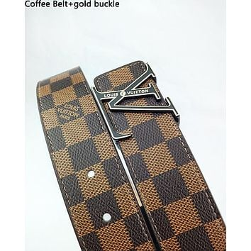 Inseva Louis Vuitton LV fashionable belt for men and women hot seller of checked belts Coffee Belt+gold buckle
