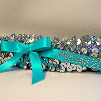 Sequin Bridal Garter or Prom Garter with Silver Hologram Sequins and Ribbon in Custom Colors