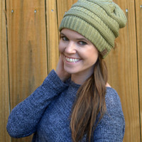 Cable Knit Beanie - Sage